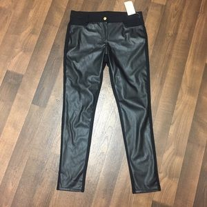MK Faux Leather Front Panel Stretch Pants